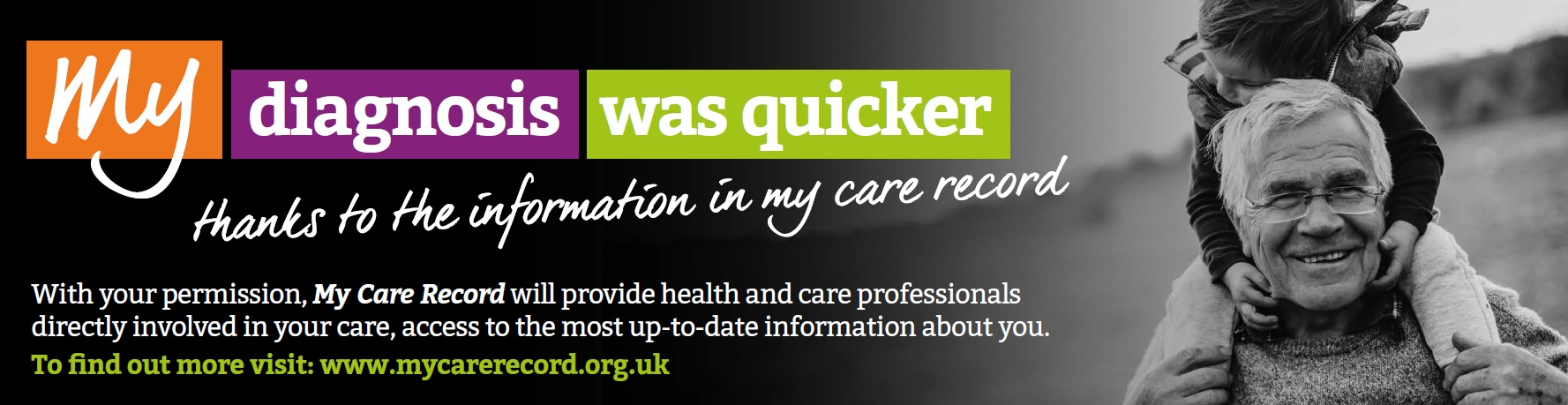 My diagnosis was quicker thanks to the information in my care record. With your permission, my care record will provide health and care professionals directly involved in your care access to the most up to date information about you. To find out more visit www.mycarerecord.org.uk